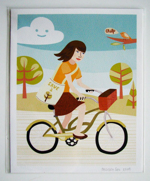 Bicycle Girl Print by Allison Cole