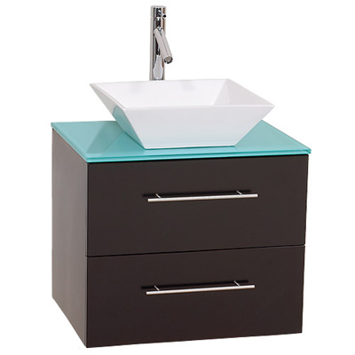 Contemporary Bathroom Vanities on Forto 24 Inch Wall Mounted Modern Bathroom Vanity   Espresso W  Green