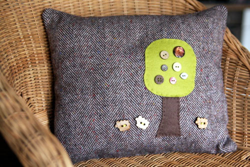 Going Round the Button Tree Cushion