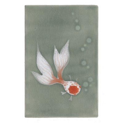 Hand Drawn Goldfish Tile from Xenia Taler